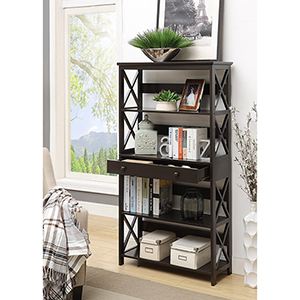 Oxford 5-Tier Bookcase with Drawer, Black