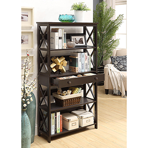 Oxford 5-Tier Bookcase with Drawer, Espresso