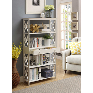Oxford 5-Tier Bookcase with Drawer, White