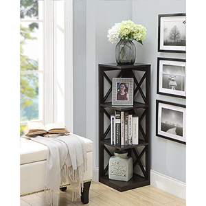 Oxford 3-Tier Corner Bookcase, Espresso