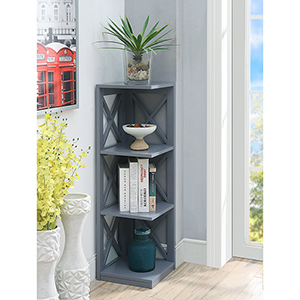 Oxford 3-Tier Corner Bookcase, Gray