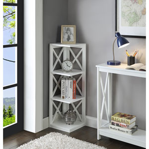 Oxford White 3 Tier Corner Bookcase