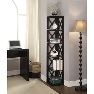 Oxford Black 5 Tier Corner Bookcase