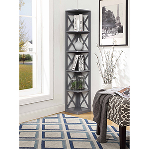 Oxford 5-Tier Corner Bookcase, Gray