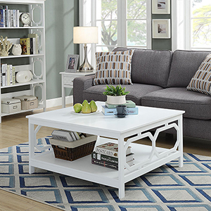 Omega Square 36-Inch White Coffee Table