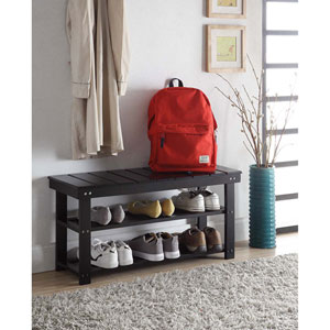Oxford Black Utility Mudroom Bench