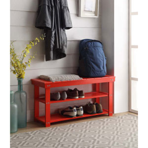 Oxford Red Utility Mudroom Bench
