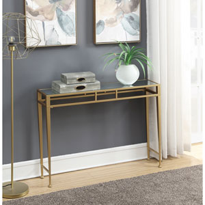 Gold Coast Mirror Top and Gold Julia Hall Console Table