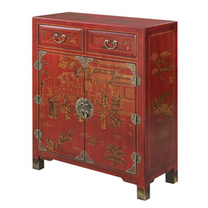Touch of Asia 2 Drawer Hall Console with Shelves