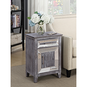 Gold Coast Vineyard Mirrored Cabinet with Drawer in Weathered Grey