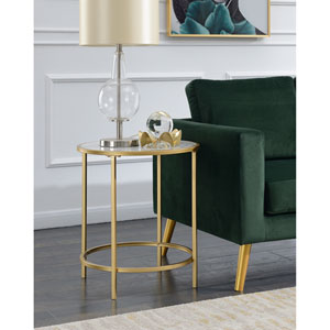 Gold Coast Deluxe Faux Marble Round End Table