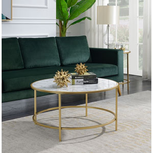 Gold Coast White Faux Marble Round Coffee Table
