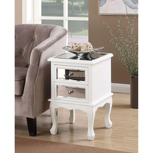 Gold Coast Queen Anne White / Mirror End Table