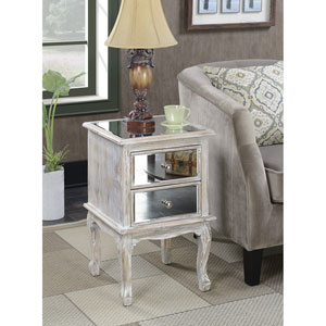 Gold Coast Queen Anne Weathered White / Mirror End Table