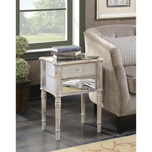 Gold Coast Mayfair Weathered White / Mirror End Table