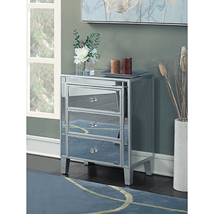 Gold Coast 3 Drawer Mirrored End Table in Silver