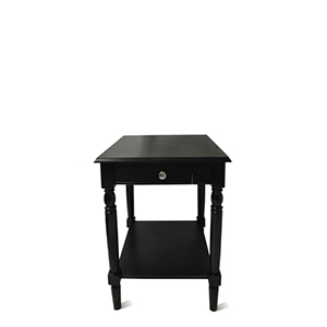 French Country Black End Table with Drawer and Shelf