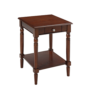 French Country End Table with Drawer and Shelf