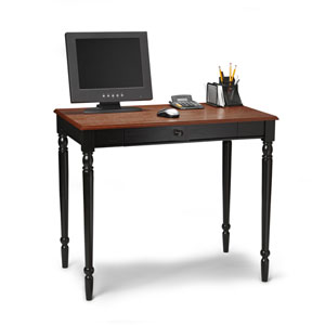 French Country Black Desk with Wood Grain Top