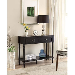 French Country Black Two Drawer Hall Table