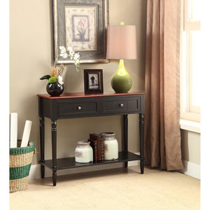 French Country Black and Cherry Two Drawer Hall Table