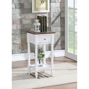 French Country Driftwood and White Khloe Accent Table
