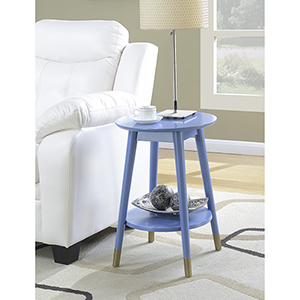 Wilson Mid Century Blue Round End Table with Bottom Shelf