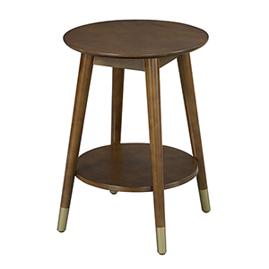 Wilson Mid Century Round End Table with Bottom Shelf