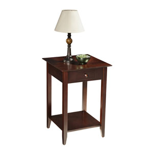 American Heritage Espresso End Table with Shelf and Drawer