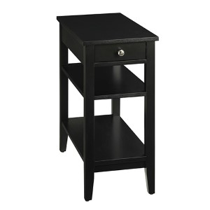 American Heritage Black Three-Tier Side and End Table with Drawer