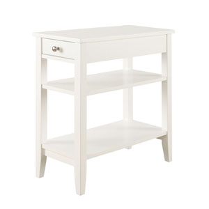 American Heritage Three Tier End Table with Drawer, White