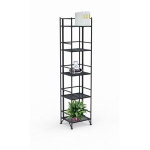 XTRA-Storage Five-Tier Black Folding Metal Shelf