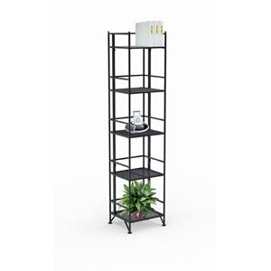 XTRA-Storage Five-Tier Black Folding Metal Shelf