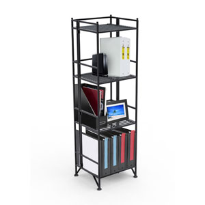 XTRA-Storage Four-Tier Black Folding Metal Shelf