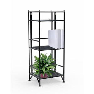 XTRA-Storage Three-Tier Black Folding Metal Shelf