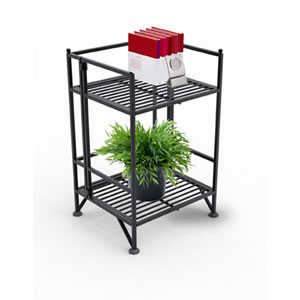 XTRA-Storage Two-Tier Black Folding Metal Shelf