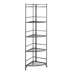 Designs2go Black Five-Tier Folding Metal Corner Shelf Media Tower