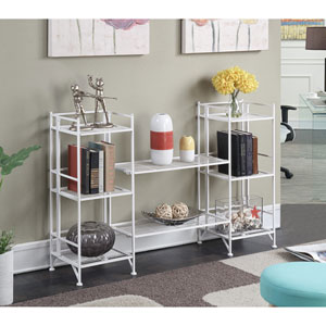 Extra Storage White 4 Piece Metal Folding Shelf