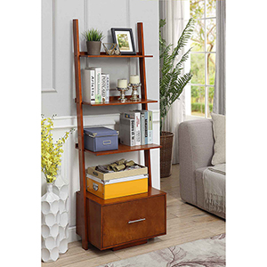 American Heritage Ladder Bookcase with File Drawer