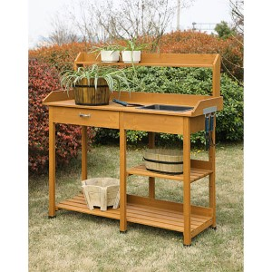 Deluxe Light Oak Garden Potting Bench