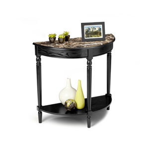 French Country Black Entryway Table with Faux Marble Top