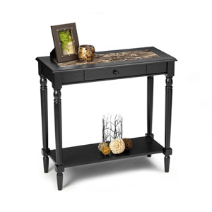 French Country Black Foyer Hall Table with Faux Marble Top