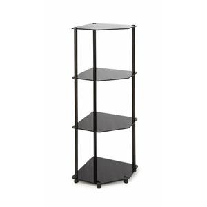 Midnight Classic Black Glass Four-Tier Corner Shelf