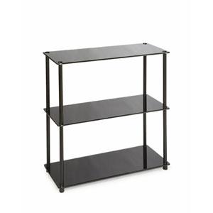 Midnight Classic Black Glass Three Shelf Bookcase