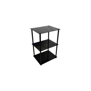 Midnight Classic Black Glass Three-Tier End Table