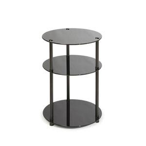 Midnight Classic Black Glass Three-Tier Round Table