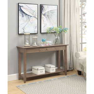 American Heritage Console Table with Drawer in Driftwood