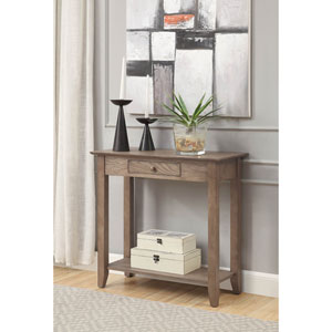 American Heritage Hall Table with Drawer and Shelf in Driftwood