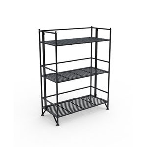 XTRA-Storage Three-Tier Wide Black Folding Metal Shelf