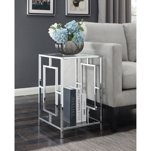 Town Square End Table in Clear Glass and Chrome Frame